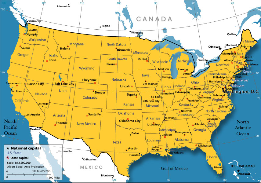 US Map With Major Cities Major Cities In The US Blank Map Of - Us state map with major cities
