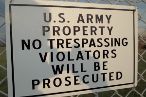 No Trespassing Sign on Army Base