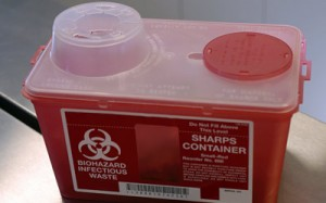 A container for discarded sharps