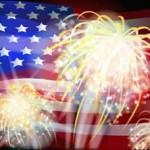 Exploding Fireworks & US Flag