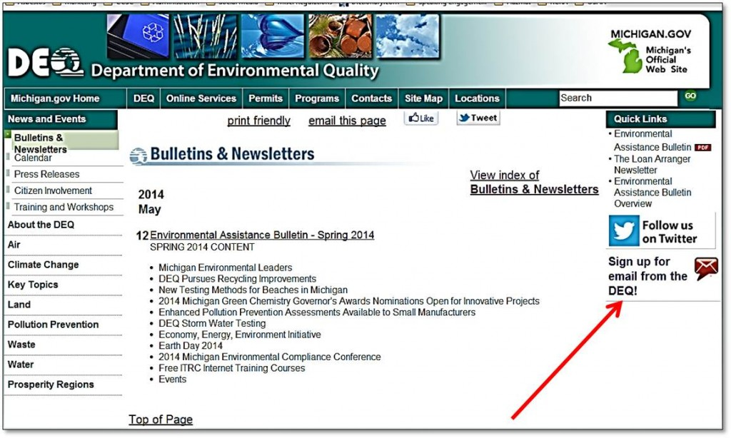 MDEQ Quarterly Environmental Assistance Bulletin