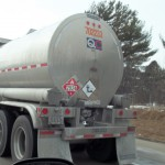 HazMat Placards visible on a tanker truck