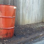 55-gallon container of leaking waste