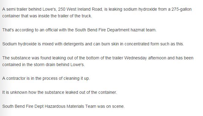 Text from WSBT website re HazMat Spill