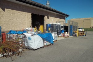 Household hazardous waste accumulated at collection site