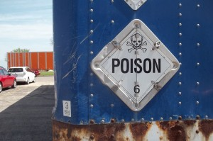 Hinged placard for Poison HazMat