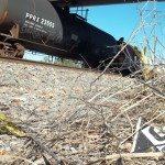 Damaged placard from rail car