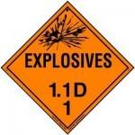 HazMat Label for Hazard Division 1.1 Explosive Compatibility Group D