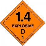 HazMat Label for Hazard Division 1.4 Explosive Compatibility Group D