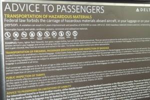 Notice to passengers of forbidden HazMat in baggage