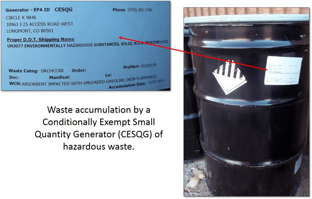 Container of hazardous waste generated by a CESQG