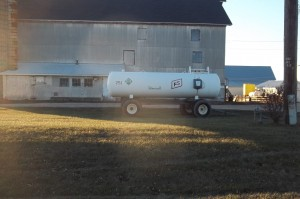 Farm building and anhydrous ammonia nurse tank