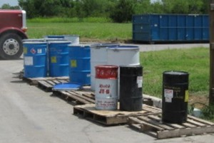 Outdoor storage of hazardous waste containers