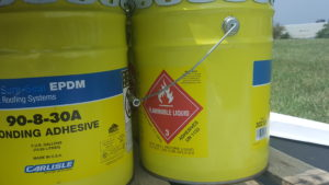 5-gallon drum of Class 3 Flammable Liquid Adhesive