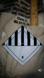 Bag of asbestos waste