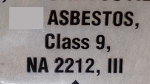 Shipping description for non-friable asbestos