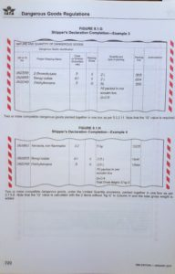 Page of the IATA Dangerous Goods Regulations