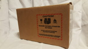 Package with lithium ion battery label