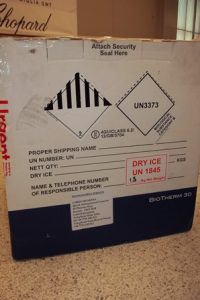 Package of infectious substance category B with dry ice
