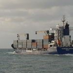 Cargo vessel leaving port