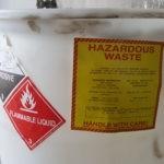 Drum of ignitable and corrosive hazardous waste