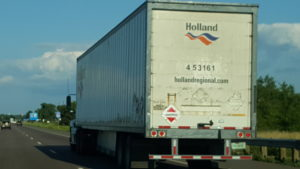Dangerous placard on truck